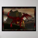 poster rojo del dragón 3D