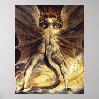 Poster rojo del dragón de Guillermo Blake