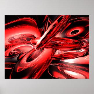 Poster rojo del extracto de la radiación gamma