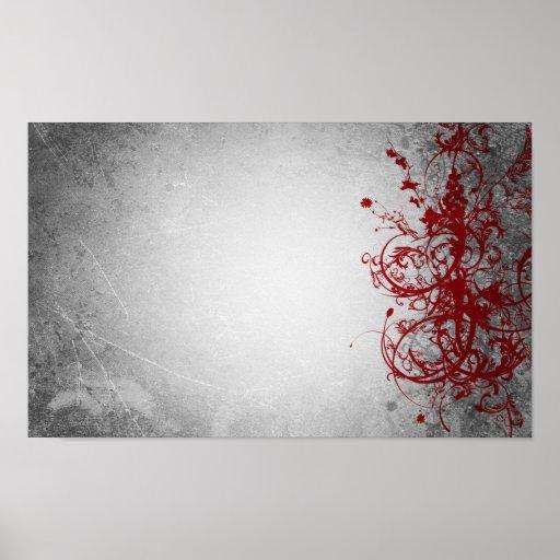 Poster rojo del Flourish del hielo