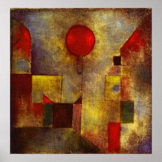 Poster rojo del globo de Paul Klee
