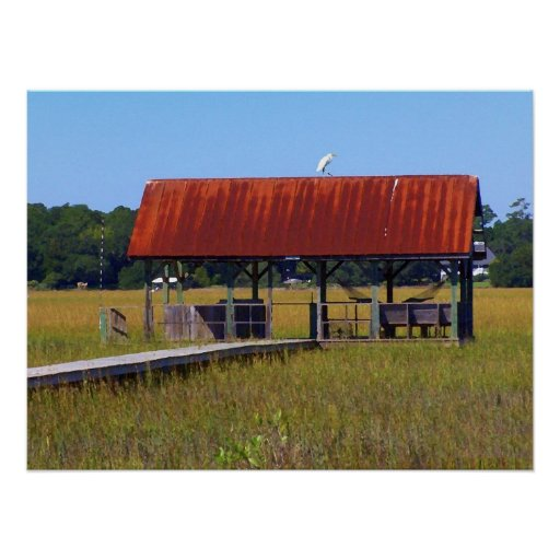 Poster rojo del muelle de la cala del tejado