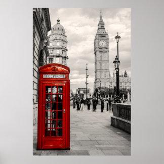 Poster rojo del paisaje de Big Ben del teléfono de