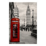 Poster rojo del paisaje de Big Ben del teléfono de Póster