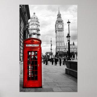 Poster rojo del paisaje de Big Ben Londres del