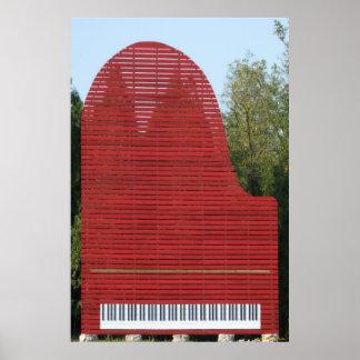 Poster rojo del piano