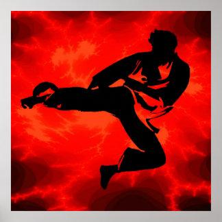 Poster rojo del relámpago del hombre de los artes