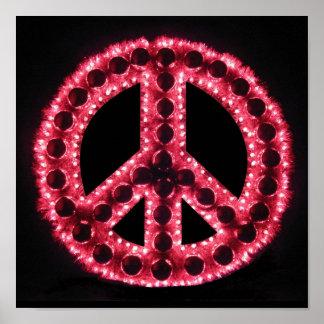 poster rojo del signo de la paz