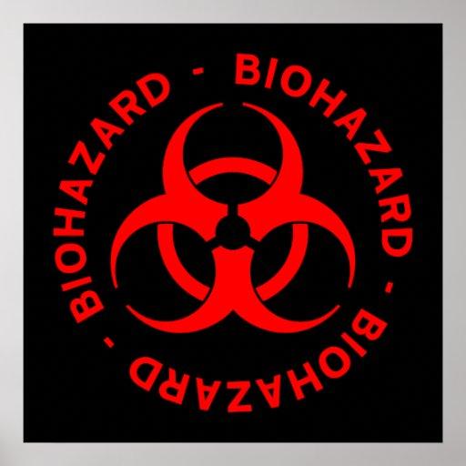 Poster rojo del símbolo del Biohazard