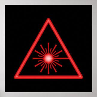 Poster rojo del símbolo del laser