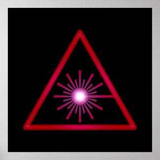 Poster rojo del símbolo del laser que brilla inten