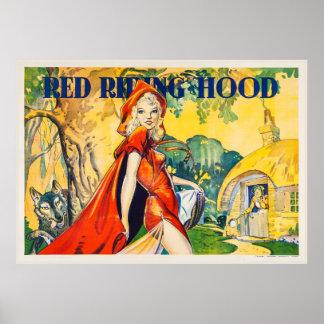 Poster rojo del teatro de la capa con capucha del