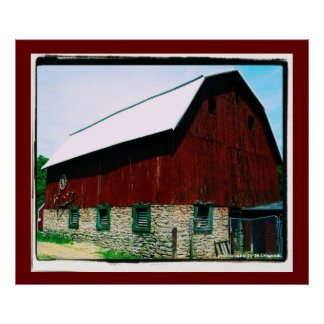Poster rojo grande del granero
