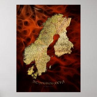 Poster rojo III del arte del fractal del MAPA ESCA