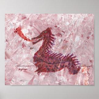 Poster rojo minúsculo del dragón