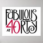 Poster rojo negro 40 fabulosos