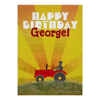 Poster rojo o verde del cumpleaños del tractor
