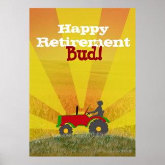 Poster rojo o verde del retiro del tractor