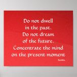 Poster rojo presente y futuro del pasado de Buda