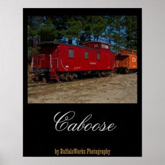 Poster rojo y anaranjado del Caboose