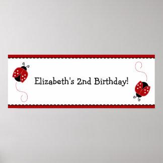 Poster rojo y negro de la bandera del cumpleaños