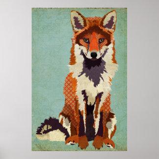 Poster rojo y violeta del arte del Fox