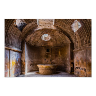 Poster - Roman Baths - Ancient Pompeii, Italy