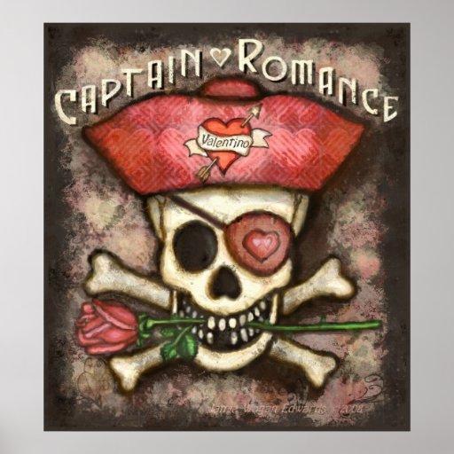 Poster romántico del pirata del el día de San Vale Póster