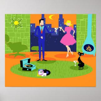 Poster romántico retro de los pares de la tarde