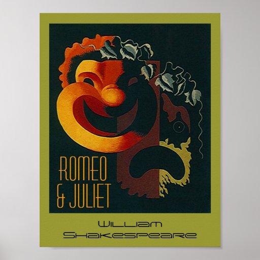 Poster Romeo y y Juliet Shakespeare de los artes d