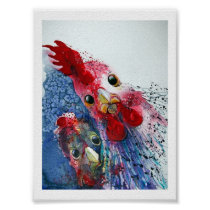 Poster - Rooster and Hen in Watercolours