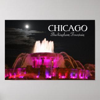 Poster rosado de Chicago de la fuente de Buckingha