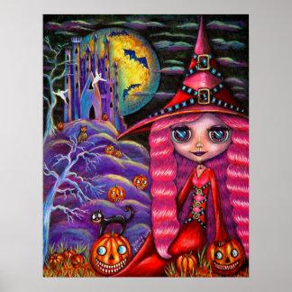 Poster rosado de la bruja de Halloween