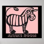 Poster rosado de la cebra del personalizar