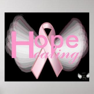 Poster rosado de la cinta de las alas angelicales