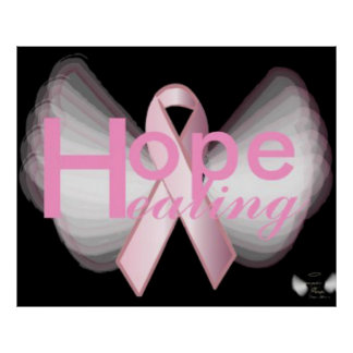Poster rosado de la cinta de las alas angelicales  póster