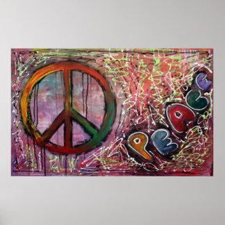 Poster rosado de la paz