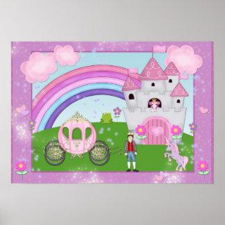 Poster rosado de la princesa cuento de hadas