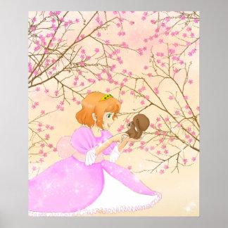 Poster rosado de la princesa y de la ardilla
