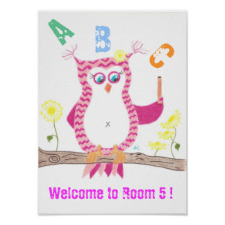 Poster rosado de la sala de clase de la recepción