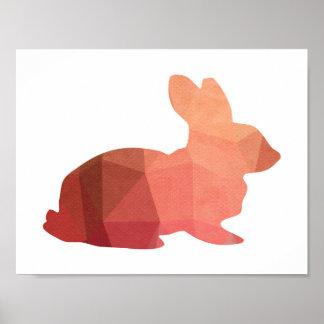 Poster rosado de la silueta del conejito de pascua