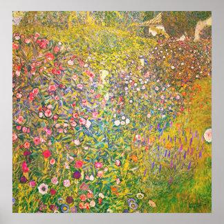 Poster rosado de las flores de Gustavo Klimt Póster