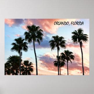 Poster rosado de las nubes de Orlando, la Florida