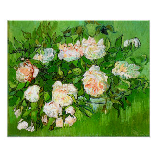 Poster rosado de los rosas de Van Gogh
