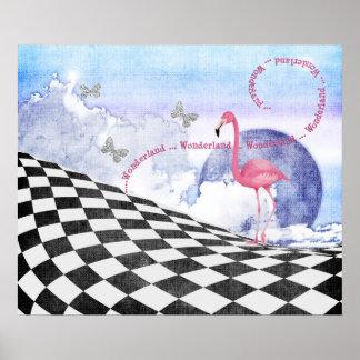 Poster rosado del arte de la fantasía del flamenco