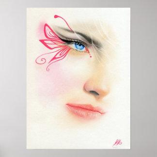 POSTER rosado del arte de la fantasía del ojo azul