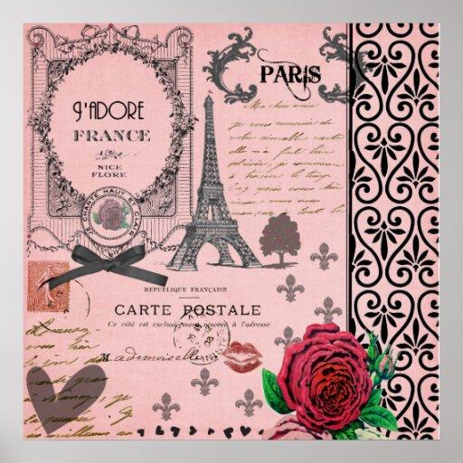 Poster rosado del arte del collage de París del vi