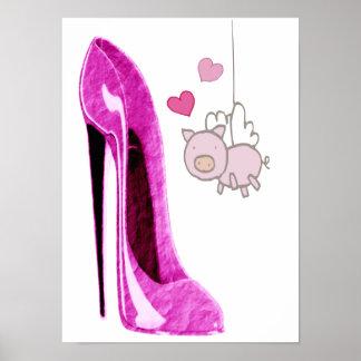 Poster rosado del arte del zapato del cerdo que vu