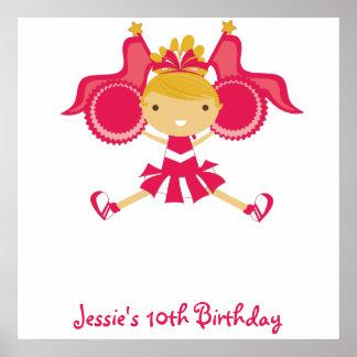 Poster rosado del autógrafo del cumpleaños de la