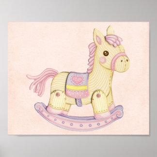 Poster rosado del caballo mecedora